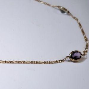 Vtg 14K Yellow Gold Fine Figaro Gemstone Necklace